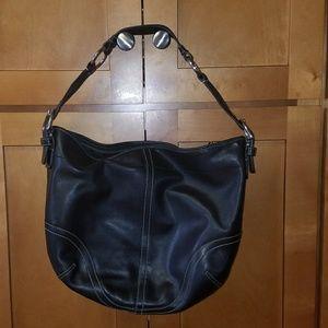 Coach Black Leather Shoulder Hobo Bag